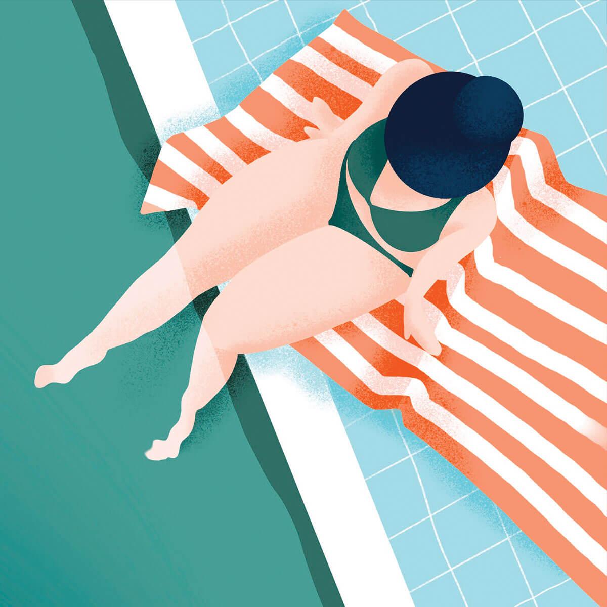 détail illustration nageuses