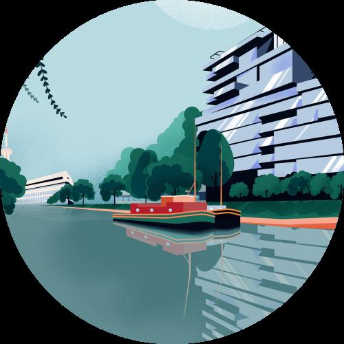 Illustration fleuve la Vilaine